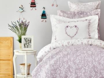 5 Pieces Birdy Cotton Single Duvet Cover Set 160 x 220 cm  With Bedspread - Lilac