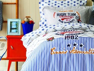 3 Pieces Challenge Single Duvet Cover Set 160 x 220 cm - Blue