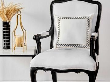 Belkis Embroidered Decorative Cushion 45 x 45 cm - White / Black