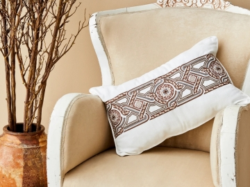 Teos Embroidered Decorative Cushion 35 x 50 cm - Ecru