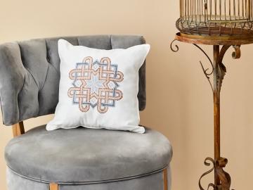 Diamos Embroidered Decorative Cushion 45 x 45 cm - White / Beige