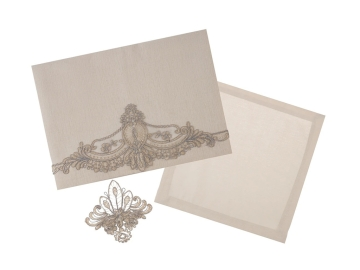 25 Pieces Camden Lace Tablecloth 160 x 260 cm With Napkin Set With Ring - Beige