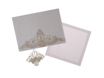 26 Pieces Canden Lacy Tablecloth 160 x 260 cm With Napkin Set + Ring - Grey