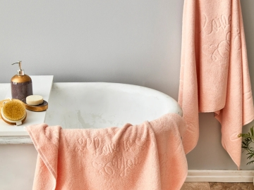 3 Pieces Love Is You Towel Set - Salmon