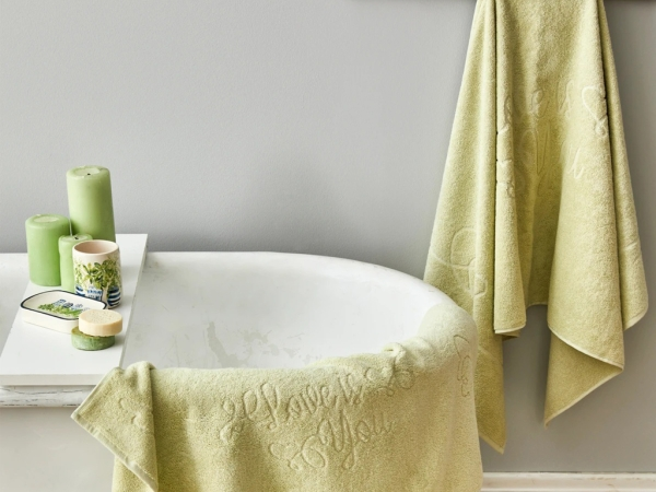 3 Pieces Love Is You Towel Set - Light Green