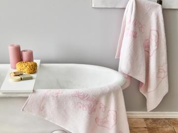 3 Pieces Sweet Heart Towel Set - Powder