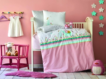3 Pieces Teeny Baby Duvet Cover Set 100 x 150 cm - Powder