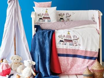 13 Pieces Tent Applique Embroidery Baby Set 100 x 150 cm - Blue