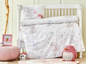 3 Pieces Honey Bunny Ranforce Duvet Cover Baby 100 x 150 cm - Pink