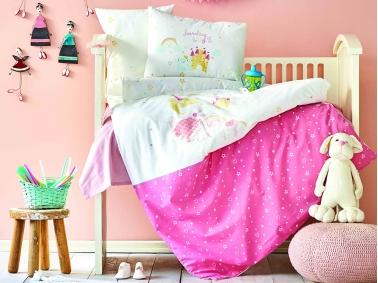 3 Pieces Lovable Powder Baby Duvet Cover Set 100 x 150 cm - Pink