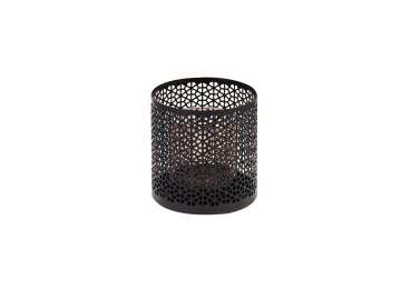 Rosa Metal Amber Small Candle Holder 10 cm diameter, 15 cm height - Black