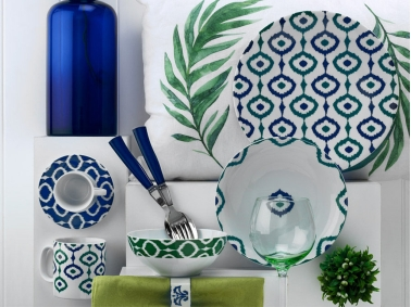 Porcelain Fulya 24 Pieces Dinner Set - White / Blue / Green