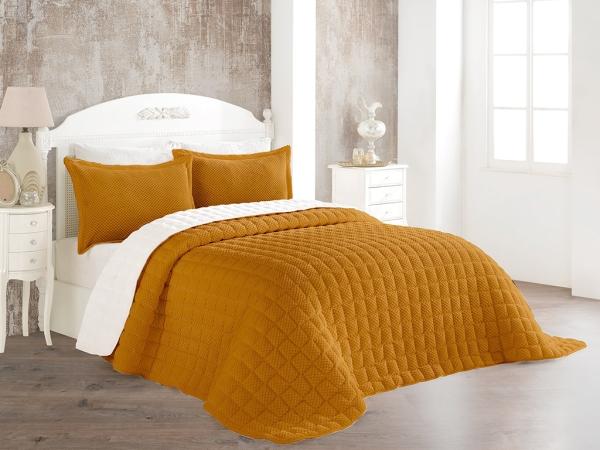 3 Pieces Winter Boss Soft Double Bedspread Set 240 x 260 cm - Desert Color / Off White