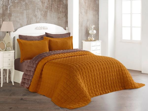 3 Pieces Winter Boss Soft Double Bedspread Set 240 x 260 cm - Desert Color / Brown