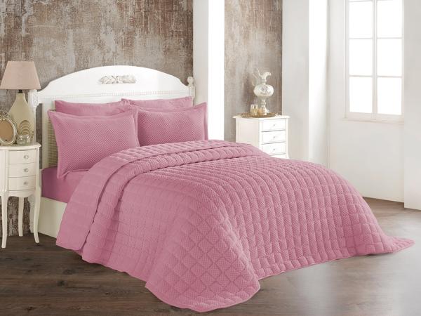 3 Pieces Winter Boss Soft Double Bedspread Set 240 x 260 cm - Dark Pink