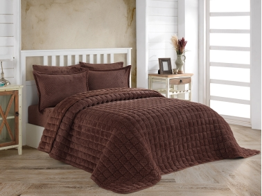 3 Pieces Winter Boss Soft Double Bedspread Set 240 x 260 cm - Brown