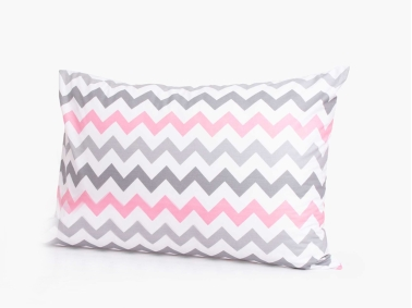 Plain Cotton Zig Zag 2 x Pillowcase 50 x 70 cm - Grey / Pink