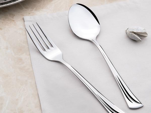 30 Pieces Maxi Plain Cutlery Set ( Knifeless )  - Silver