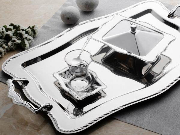 28 Pieces Chain Plain Tea Set ( No Glass ) - Silver
