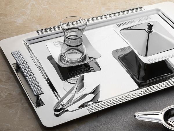 28 Pieces Sirma Plain Tea Set ( No Glass ) - Silver