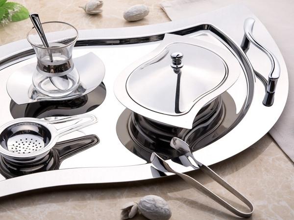 28 Pieces Gizem Plain Tea Set ( No Glass )  - Silver