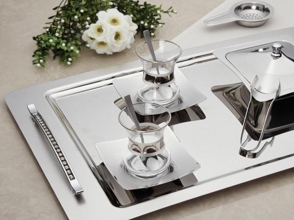 28 Pieces Rana Plain Tea Set ( Without Glass ) - Silver