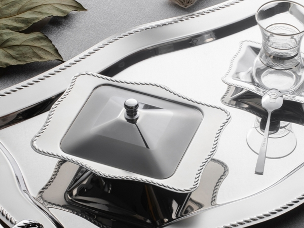 27 Pieces Chain Plain Tea Set ( No Glass )  ( Tray Not Available ) - Silver