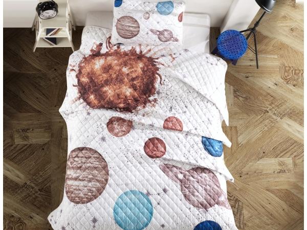 2 Piece Planets 3D Printed Single Bedspread 180 x 240 cm - Multicolor