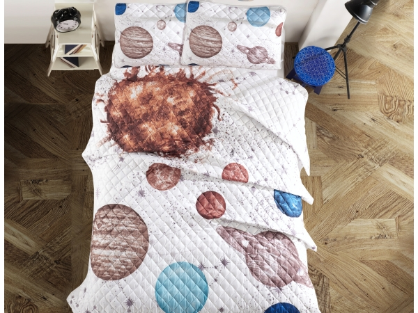 3 Pieces Decorative 3D Printed Planets Double Bedspread 240 x 260 cm - Brown / White