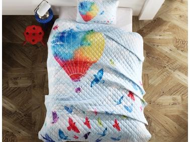 2 Piece Airship 3D Printed Single Bedspread 180 x 240 cm - Multicolor