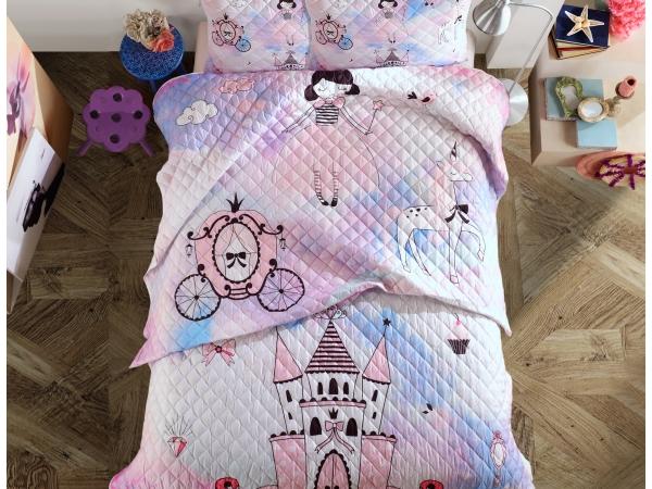 3 Pieces Decorative 3D Printed Dreams Palace Double Bedspread 240 x 260 cm - White / Pink / Purple