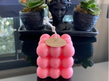 Cocktail Wax Bubble Strawberry Decorative Candle 15 x 15 cm - Pink