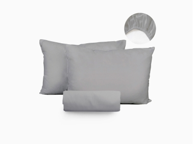 3 Piece Istanbul Double Fitted Sheet Set 180 x 200 + 30 Cm - Grey