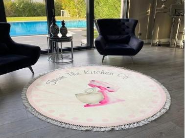 Palermo Carpet Design From The Kitchen 100 x 100 cm - Light Beige / Pink